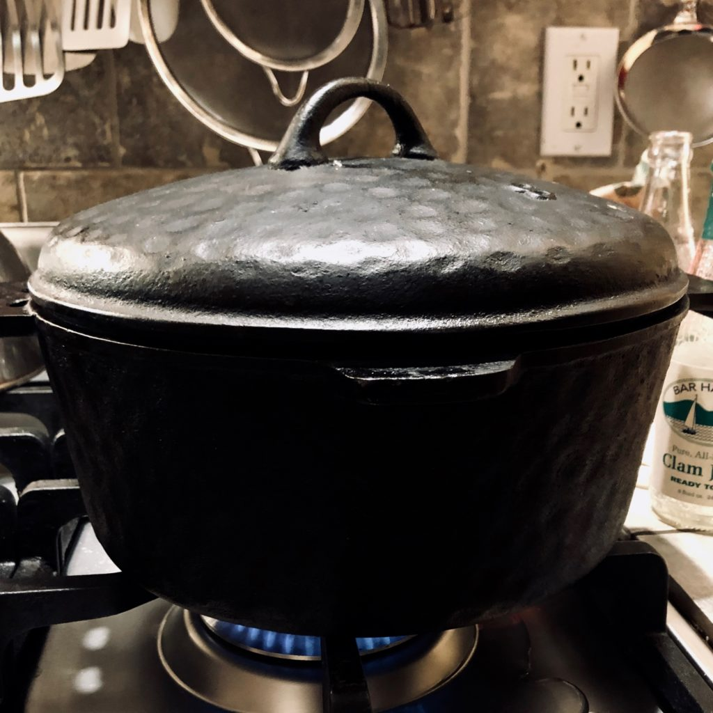 Traditional chowder in an age old cast iron pot with lid